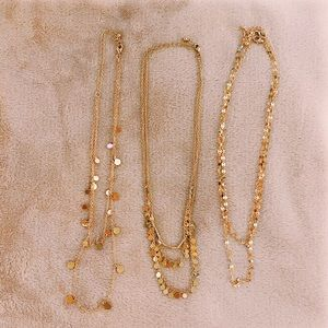 Forever 21 Three Layered Gold Circled Necklaces
